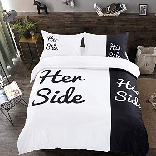 Black and White Duvet Cover Set Double His Side Her Side Bedding Set 3 Pieces Microfiber Quilt Cover with Zipper Closure for Adults Double Size 200x200cm
