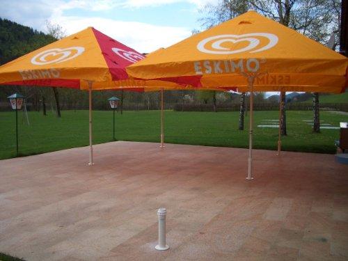STABIELO ALU-ABRIST® Support de parasol professionnel pour bâtons de 25-42 mm seulement 1,5 kg avec embouts en acier inoxydable à coller avec colle à embout d'oreille pour béton et béton béton béton et béton avec filetage intérieur Marche/arrêt. - À visser - Changement rapide de l'emplacement et démontage ainsi possible - Innovation - Fabriqué en Allemagne - Produits Holly-sunshade