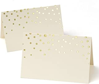 Gold Foil Dots Place Cards - 50 Count of 3.75 x 2.5 Gold Foil Dotted Tent Cards (3-Pack)