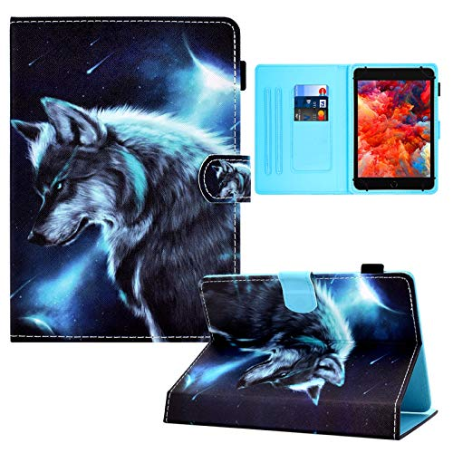 Universal 8.0 Inch Tablet Case, Card Slots Folio Stand Cover for All 7.5-8.5 inch iPad Mini 1 2 3 4,Galaxy Tab 8.0, Fire HD 8,Lenovo Tab 8.0,Huawei 8.0 Android iOS 8.0 Tablet -Wolf