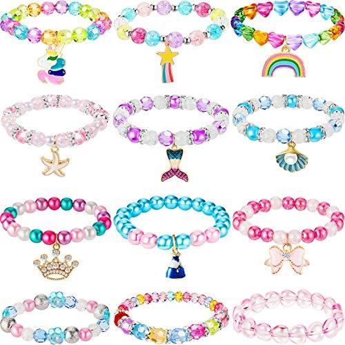 12 Pulseras de Unicornio de Navidad Pulsera de Cuentas de Princesa Pulsera de Arcoíris Pulsera de Lazo de Niñas Brazalete Colores para Cumpleaños Juego de Disfraz (Estilo de Cristal)