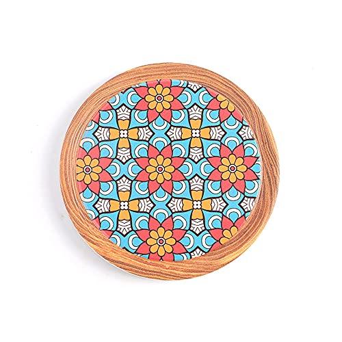 Manteles individuales,Posavasos de cerámica floral coloreado, cojín a prueba de calor de corcho doméstico 4 piezas-Decoración 2