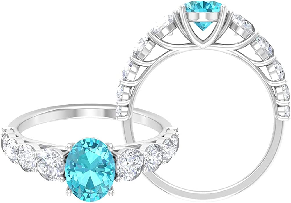 8X6 MM Oval Cut Solitaire Ring, 2.85 CT Swiss Blue Topaz and Moissanite Ring, Gold Side Stone Engagement Ring,14K White Gold,Swiss Blue Topaz,Size:US 10.50