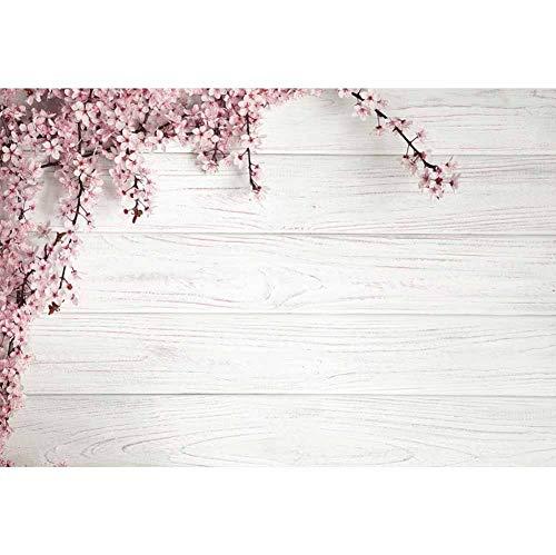 Leowefowa 3x2m Vinilo Primavera Telon de Fondo Tablones de Madera de Textura rústica Vintage Flores Rosadas De La Fruta Fondos para Fotografia Party Photo Studio Props Photo Booth