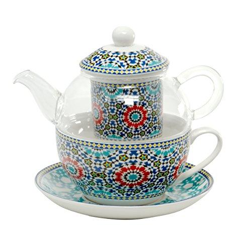 Tea for One Set - Glaskanne mit Porzellantasse und Porzellanfilter von DUO in Geschenkverpackung | Tee-Set/Teeservice: Teekanne Glas Teetasse Teefilter Untertasse Porzellan (Marokko)