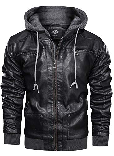 Levi's Men's Washed Cotton Military Jacket with Removable Hood (Standard and Big & Tall), Black, X-Large
