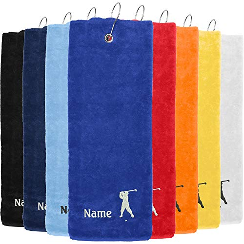 Nashville print factory Golf-Handtuch Bestickt mit Motiv Golfer und deinem Namen | Golftuch Handtuch 45x45 cm (Hellblau)
