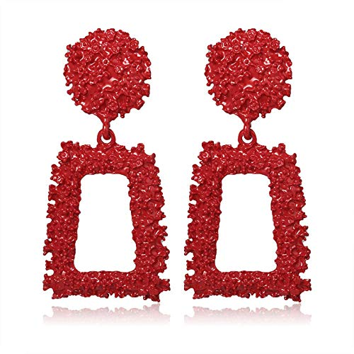 Earring New Korean Acrylic Statement Earrings for women Red Cute Geometric Dangle Drop Gold Earrings Fashion Jewelry Red113