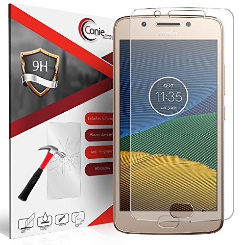 Conie 9H2168 9H Panzerfolie Kompatibel mit Motorola Moto G5, Panzerglas Glasfolie 9H Anti Öl Anti Fingerprint Schutzfolie für Moto G5 Folie HD Clear