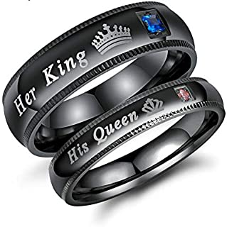 European and American Couple Ring Her King His Queen Crown Couple Titanium Steel Ring