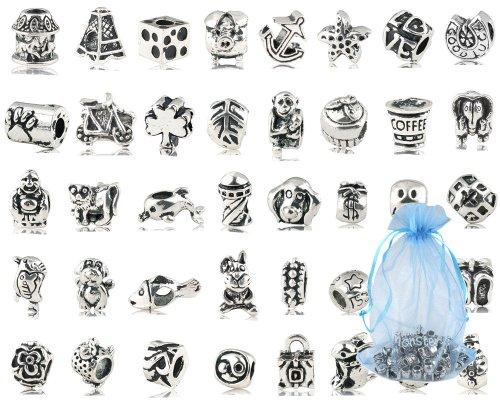 Lot de 40 PC (env.) antique Plaqué argent oxydé Perles métal Charms Set Mix Lot – Compatible bracelets