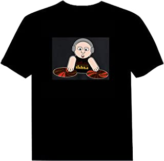 Pawant Adult Couples Audio Control LED Flashing Night Club Wear Cotton T-Shirt DJ Boy L