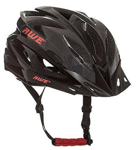 AWE® AWEAir™ In-Mould Helm Erwachsene Männer Straßen-Radsport 58-61cm Schwarz-rot-Carbon