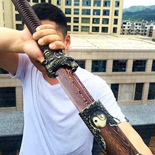 VARWANEO Chinese Kungfu Dragon/Tiger Broadsword Sword Wushu Da Dao Sharp Folded Red Damascus Steel Handmade Real Knife Saber