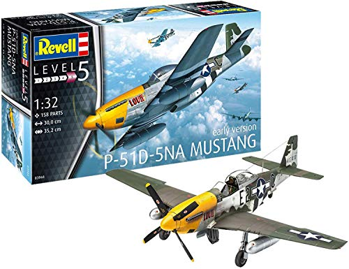 Revell-P-51D-5NA Mustang (Early Version Kit Modelo, Multicolor (03944)