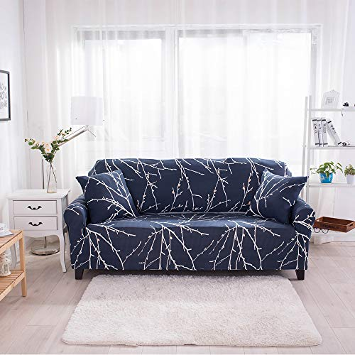 HYSENM fodera per divano 1/2/3/4 posti fodera per divano motivo floreale elasticizzato morbido elasticizzato, 4 posti 235-300cm Fiore Di Prugna