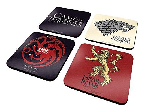 Game of Thrones Untersetzer-Set, offizielles Getränkezubehör, Melamin-Bezug mit Korkboden, Mehrfarbig, 10 x 10 cm