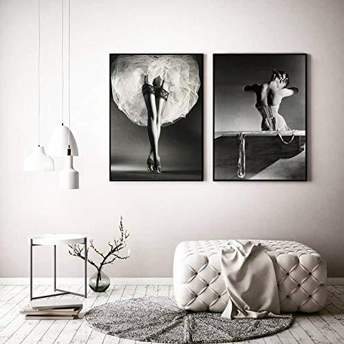 FA LEMON Ballerina Drucke Leinwand Bild Gemälde Wandkunst Schwarz Weiß Poster Wohnzimmer Dekoration-40x60cmx2 STK. Kein Rahmen