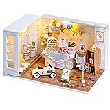 CUTEBEE Miniature avec des Meubles de Maison de poupée, kit DIY Dollhouse en Bois Ainsi Que la poussière et , 1:24 Salle créative pour l'idée Cadeau Saint Valentin
