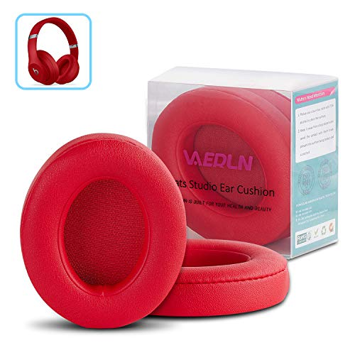 Vanerdun Replacement Ear Pads - Compatible with Beats Studio 2/3 Wired/Wireless & Beats B0500 B0501 Headphone - Protein Leather Memory Foam Ear Cushion - Red