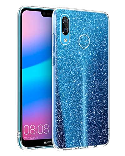 DUEDUE Huawei P20 Lite Hülle Transparent Glitzer [Nicht Vergilbend] Huawei P20 Lite Handyhülle Slim Case TPU Schale Hardcase Leicht Dünn Schutzhülle Silikon Klar Case Cover Hülle für Huawei P20 Lite