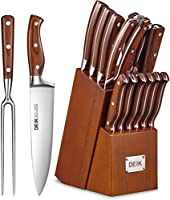 deik set coltelli, 16 pezzi coltelli da cucina in acciaio inossidabile, set coltelli professionali cucina ceppo coltelli blocco in legno utensili da cucina