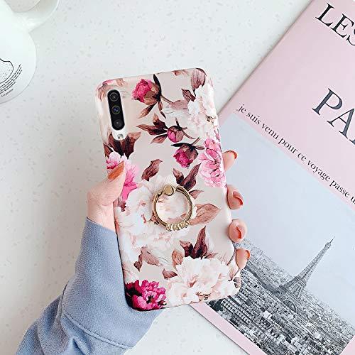 QPOLLY Kompatibel mit Samsung Galaxy A50 Hülle mit Glänzend Ring Ständer Bunt Blumen Muster Schutzhülle Ultra dünn Weiches TPU Silikon Stoßfest Handyhülle für Galaxy A50,Blume