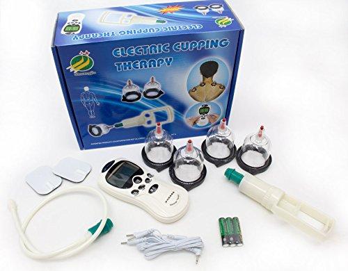 Schröpfen Set aus Kunststoff mit Elektro Massage Gerät