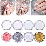Born Pretty - Polvere olografica glitterata in polvere glitterata, per nail art, 8 colori