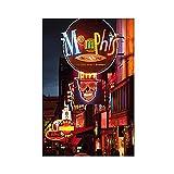 Beleuchtete Balkenschilder auf der Beale Straße Memphis