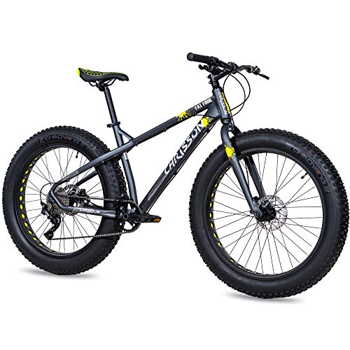 CHRISSON 26 Zoll Fatbike Mountainbike - Fat Four schwarz-gelb - Hardtail Fat Tyre Mountain Bike, Fahrrad mit 4.0 fette Reifen und 10 Gang Shimano Deore Schaltung