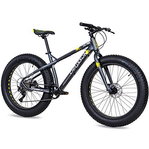 CHRISSON Bicicleta de montaña Fat Four de 26 pulgadas, color negro y amarillo, Hardtail Fat Tyre Mountain Bike, bicicleta con neumáticos 4.0 grasos y 10 velocidades Shimano Deore