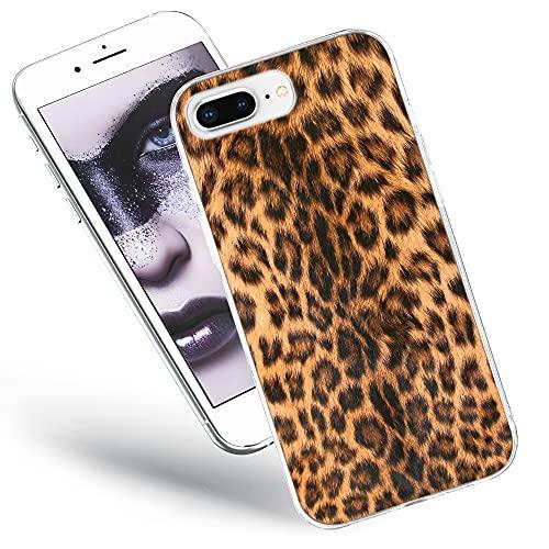 QULT Carcasa para Móvil Compatible con iPhone 8 Plus, Funda iPhone 7 Plus Transparente Fina Silicona Suave Bumper Teléfono Caso para iPhone 7 Plus/8 Plus con Dibujo Leopardo