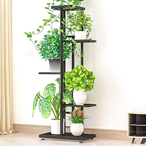 VOVEY Soporte para plantas de hierro de 5 niveles, estante de hierro, soporte para plantas, estantes para jardín, patio, decoración interior y exterior, ahorra espacio (gris marino) 43 x 22 x 98 cm