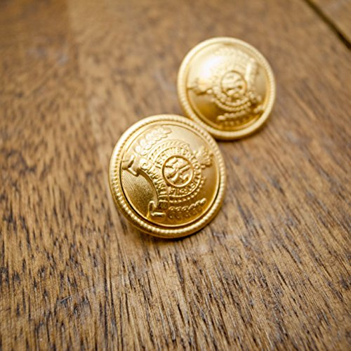 【丸型(エンブレムボタン)】メタル(真鍮)ボタン#MN19 1穴20mm C/#G ゴールド 10個セット