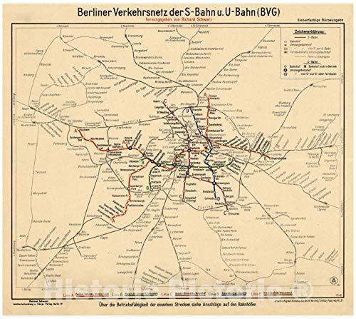 Historic Pictoric Map : Berlin, Germany 1946, Berliner Verkehrsnetz der S-Bahn u. U-Bahn (BVG), Antique Vintage Reproduction : 18in x 16in