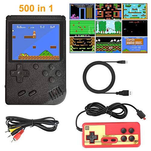 Laelr Handheld-Spielekonsole, Retro-Spielekonsole mit 500 klassischen FC-Spielen, Tragbarer Retro-Mini-Videospiel-Player, für den Anschluss von Fernsehgeräten und Zwei Spielern