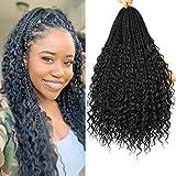 20 Inch 7 Packs Bohomian Box Braids Crochet Hair Curly Prelooped Crochet Hair Goddess Box Braids Crochet Hair Crochet Box Braids Hair With Curly Ends Crochet Braiding Hair For Black Women (20 Inch 7 Packs, #1B)