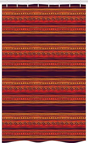 ABAKUHAUS Ethno Boho Schmaler Duschvorhang, Abstraktes Ethno Art, Badezimmer Deko Set aus Stoff mit Haken, 120 x 180 cm, Ringelblume Pflaume Zinnoberrot Hell Orange