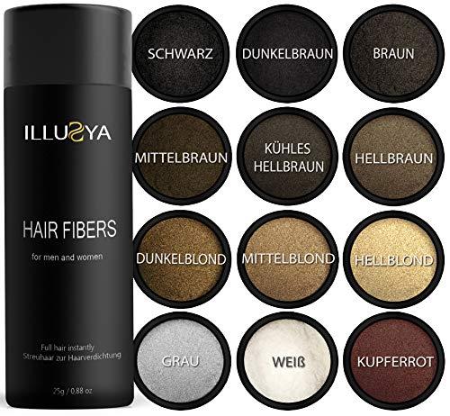 ILLUSYA® Haarfasern - Streuhaare - Schütthaare - Hair Fibers zur Haarverdichtung. Premiummarke. Volles Haar in Sekunden (BRAUN)