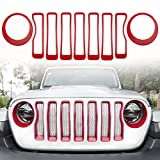 Opall Mesh Front Grille Grill Insert &Front Headlight Turn Light Bezels Cover Trim fits for 2018-2020 Jeep Wrangler JL Sport/Sports