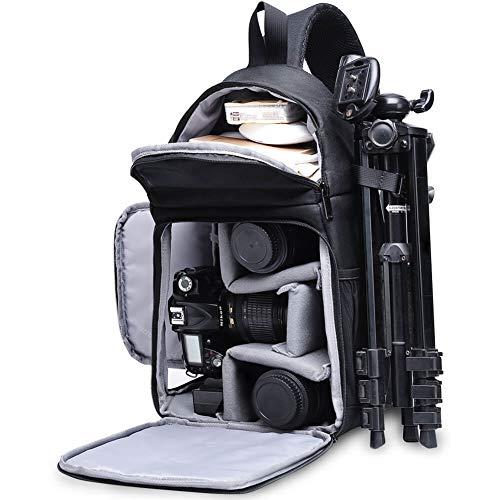 CADeN Bolsa Bandolera Camara Reflex - Estilo de diseño Triangular único con Cubierta contra la Lluvia Puede acomodar 1 cámara 3 Lentes 1 trípode y Otros Accesorios fotográficas para Canon Nikon Sony