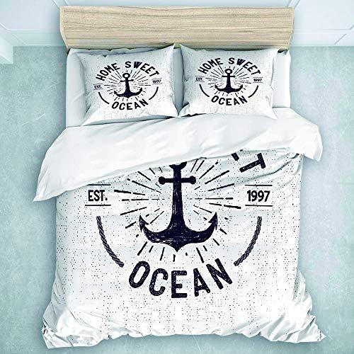 Juego de Funda nórdica, Letras de Home Sweet Ocean en un boceto náutico con Fondo Desgastado, Juegos de Cama para Verano de 3 Piezas
