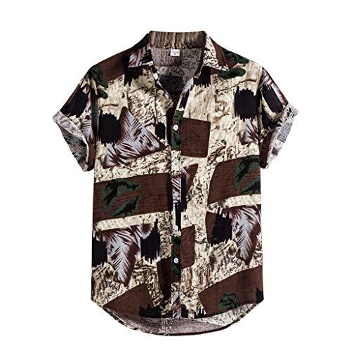 Andouy Mode Hawaii Hemd für Männer Strand Party Holiday Lässige Kurzarm Drucken Knopf Hemden T-Shirt(XL.Beige)