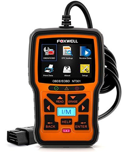 Foxwell CAN OBD2/EOBD Diagnosegerät zum Lesen und Löschen von Fehlercodes mit Farbdisplay mit Sauerstoffsensortest mit dem I/M Druckknopf Funktioniert NT301