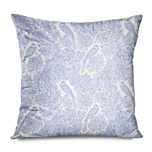 Suo Long Funda de cojín Azul Animal Floral Pájaro exótico Fantástico Abstracto Beige Batik Colonial Lindo Dibujo de Contorno Dibujo Funda de Almohada