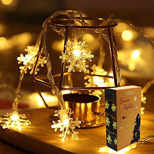 MSKS Luces Navidad LED Exterior Con Pilas,Guirnaldas Luces Navidad Blanco Cálido, Impermeable...