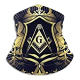 SARA NELL Neck Gaiter,Freemason Logo Gold Leaves Pattern Neck Gaiter Face Scarf Mask-Dust, Sun Protection Cool Lightweight Windproof, Breathable Fishing Hiking Running Cycling