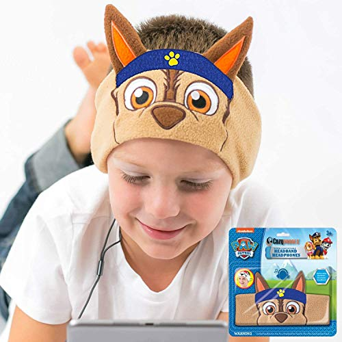 Paw Patrol Kids Headphones by CozyPhones - Volume Limited with Thin Speakers & Super Comfortable Soft Headband - Perfect Toddlers & Children's Earphones for School, Home & Travel - Chase