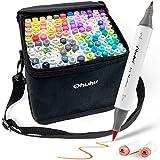 Ohuhu Markers Brush Tip, Alcohol Art Marker Set for Kids Adults Coloring Illustration, Artist Alcohol-Based Brush Markers, 120 Unique Colors + 1 Alcohol Marker Blender + Marker Case, Brush & Fine